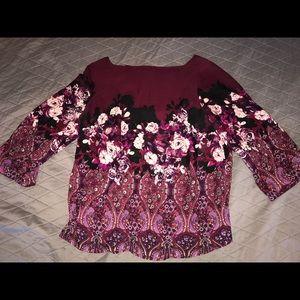 Burgundy Flower Blouse